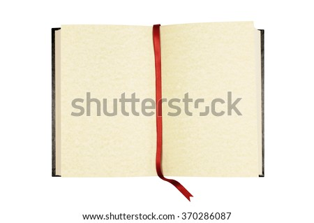 Old blank open book, blank pages, red ribbon bookmark isolated on white, copy space - stock photo