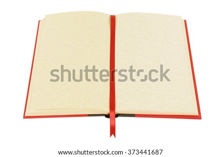 Old blank open book, bookmark, isolated on white, top view - stock photo