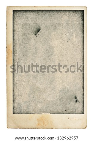 old blank photo post card. vintage grunge paper  background - stock photo