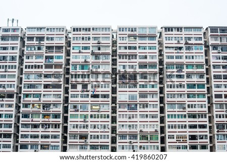 old block of apartment building in Asian style - stock photo