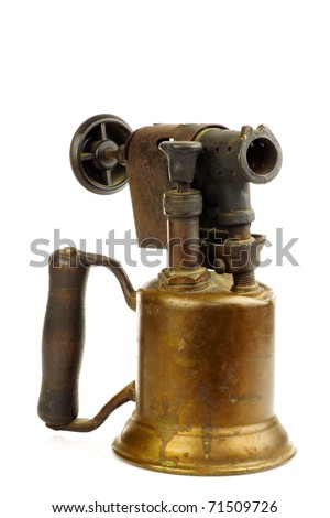 Old blowtorch on a white background - stock photo