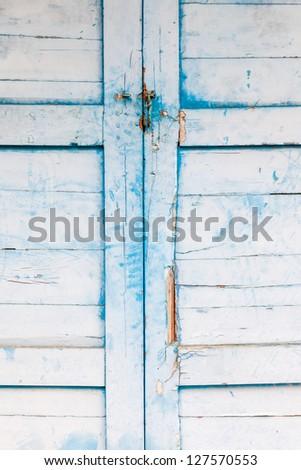 old blue aged wooden door - stock photo