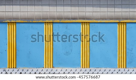 old blue and yellow blank signage - stock photo