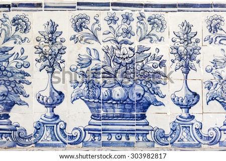 Old blue azulejos picture on the church exterior in Cascais, Portugal. - stock photo