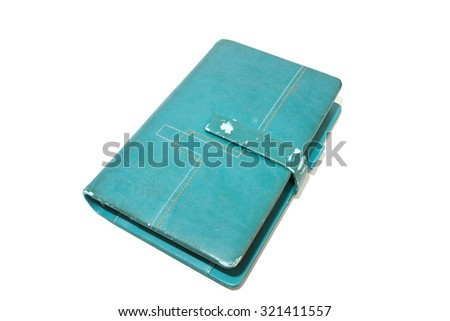 old blue diary note book isolated on white background - stock photo