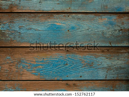 old blue grunge wooden background - stock photo