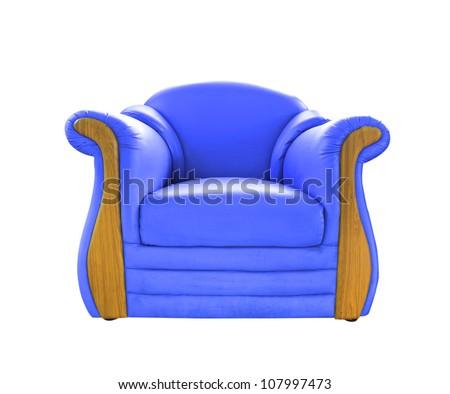 old blue leather sofa isolated on white - stock photo
