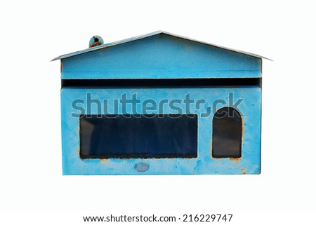 Old Blue Mailbox on white background - stock photo