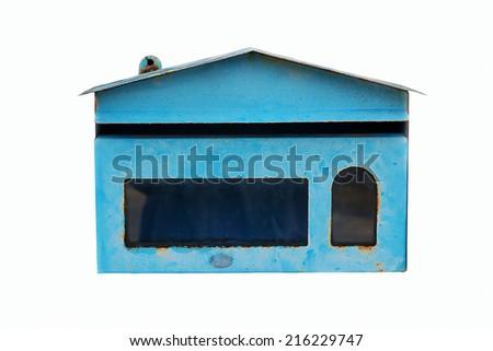 Old Blue Mailbox on white background - stock photo