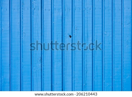 Old blue painted wooden plank background. Close up - stock photo