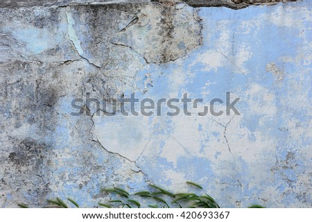 old blue plaster wall - stock photo