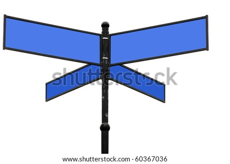 Old  blue signpost on a white background and ways to choose - stock photo