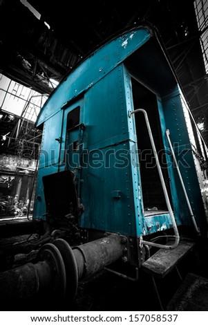 old blue train wagon - stock photo