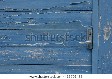 Old blue wood wall texture background - stock photo