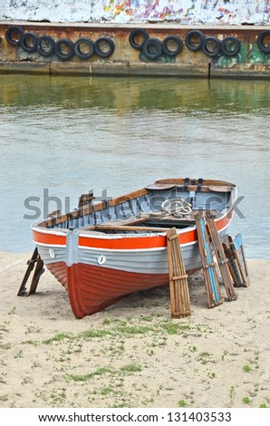 Old boat at beach lifeguard station, Odessa, Ukraine - stock photo