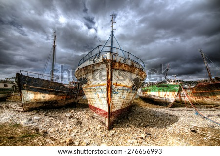Old Boats at Camaret-sur-Mer, Brittany - stock photo