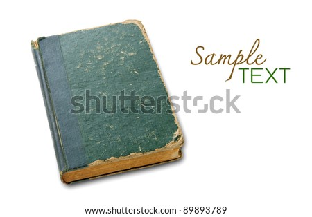 Old book cover isolated on a white background  with space for your text - stock photo