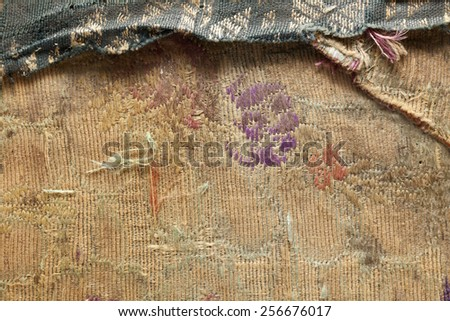 Old book cover, vintage texture with embroidery  - stock photo