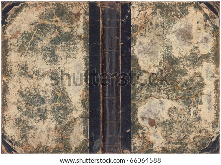 Old book cover with spine - stock photo