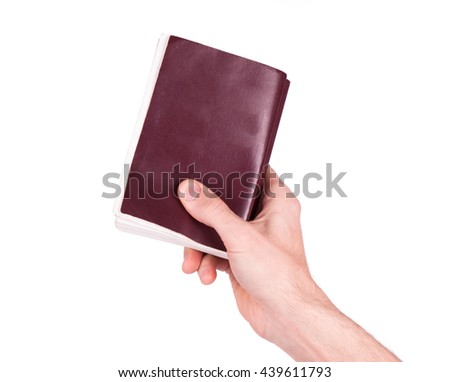 Old book in hand. The concept of discipleship - stock photo