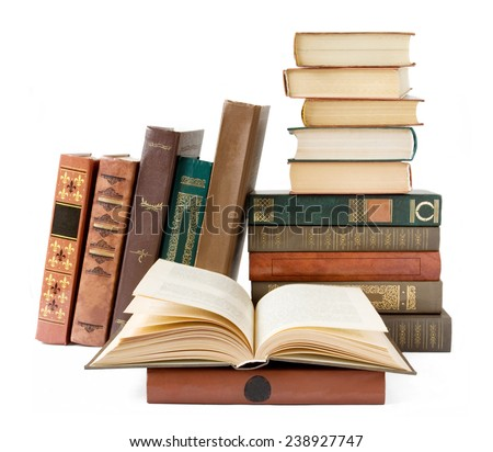Old book on bookshelf  isolated on white background - stock photo