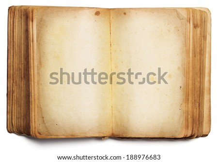 old book open blank pages, empty yellow paper isolated on white background - stock photo