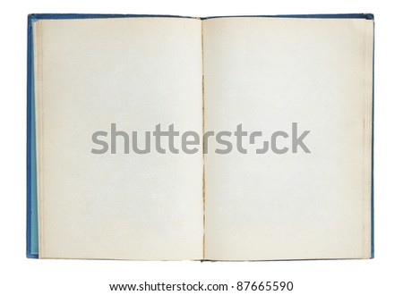 Old book open isolated on white background - stock photo