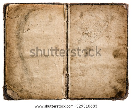 Old book open isolated on white background. Grungy worn paper texture - stock photo