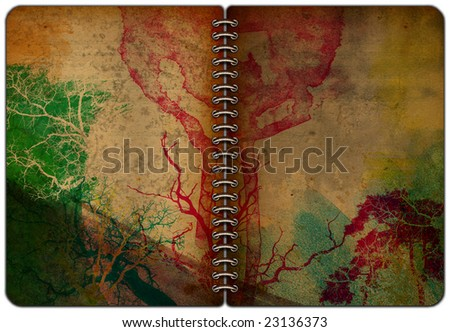 old book or diary with grunge texture - stock photo