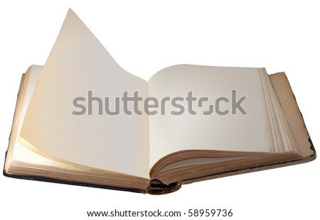 Old Book with Blank Pages Isolated on White Background (With Clipping Path) - stock photo