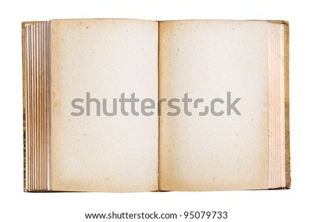 Old book with blank stained pages, clipping path. - stock photo
