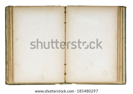 Old book with broken binding and stained blank pages. - stock photo