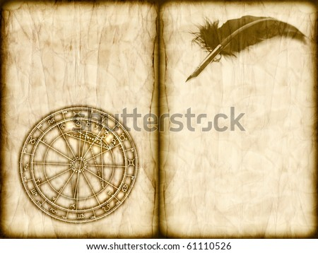 old book with horoscope chart and feather with copy space - stock photo