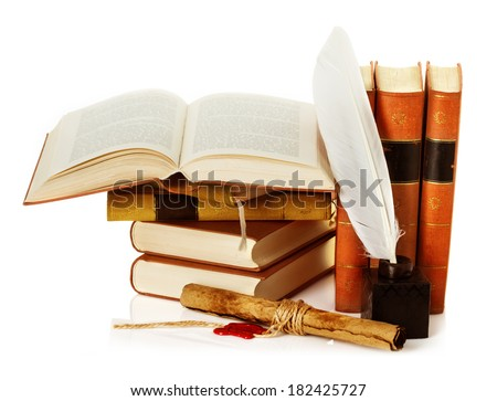 old book with inkwell, quill pen and scroll - stock photo