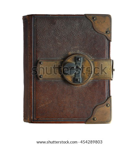 Old book  with lock isolated on white background - stock photo