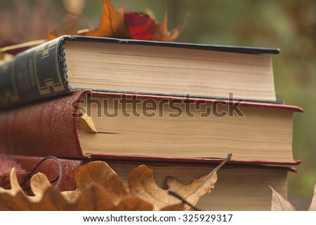 old books and fallen autumn leaves - stock photo