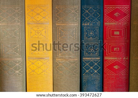 Old books close up, back of books. - stock photo