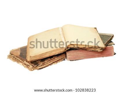 Old books on white background. - stock photo