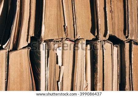 Old books. Pile of old books. Texture of old books, close up - stock photo
