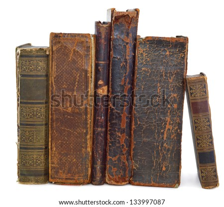 Old books pile vertical isolated - stock photo