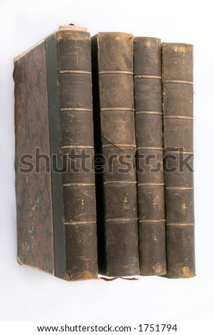 Old books ... published at 18.. ies - stock photo