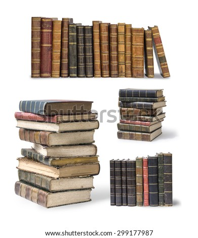 old books set isolated on white - stock photo