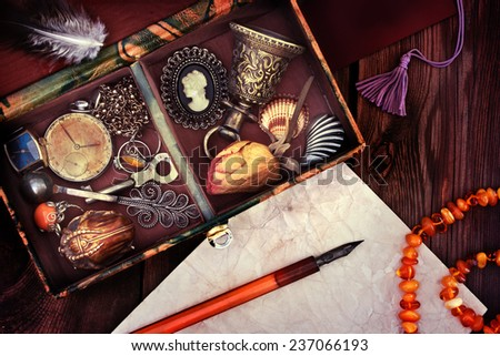 Old box of old things. Memory is stored in old things - stock photo