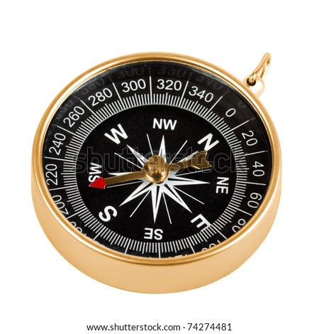 Old brass compass isolated on white background - stock photo