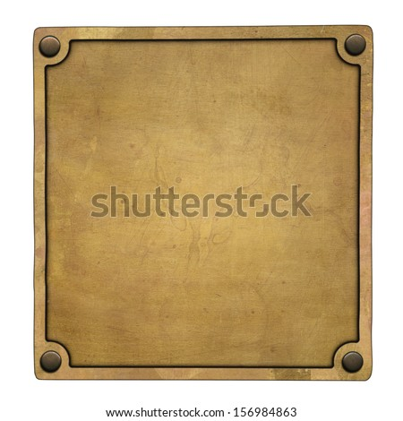 Old brass plate (clipping path) - stock photo