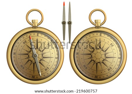 old brass pocket compass realistic illustration isolated on white - stock photo