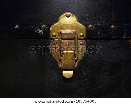 Old Brass Trunk Latch - stock photo