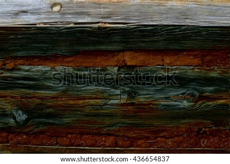 Old brick and wooden wall background - stock photo