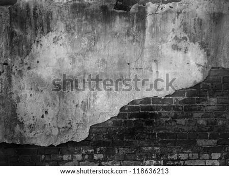 old brick concrete wall - stock photo