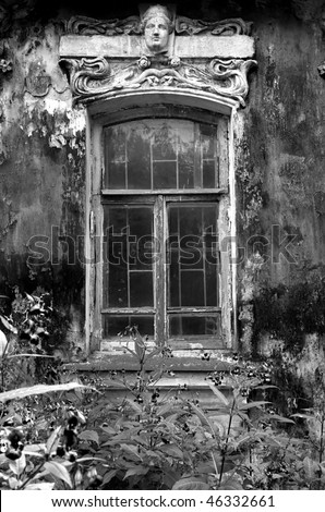 old brick house - stock photo